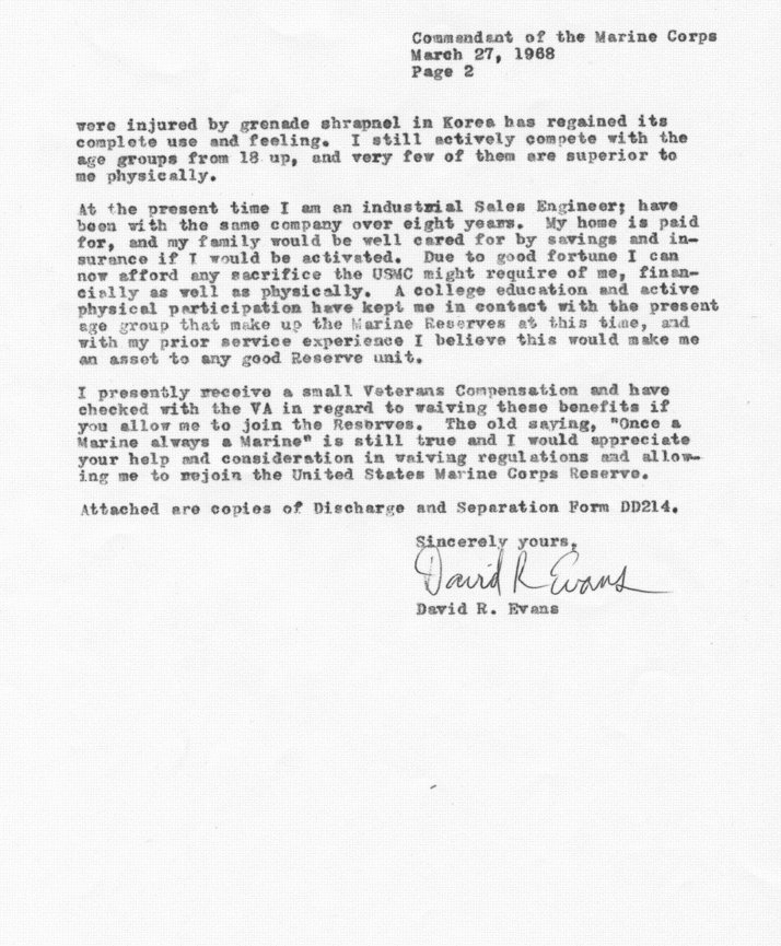 Korean war educator memoirs david r evans march 1968 letter requesting reenlistment page 2 spiritdancerdesigns
